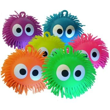 2 x FLUFFY SQUEEZY FUNNY FACE TOY BALLS children play pet